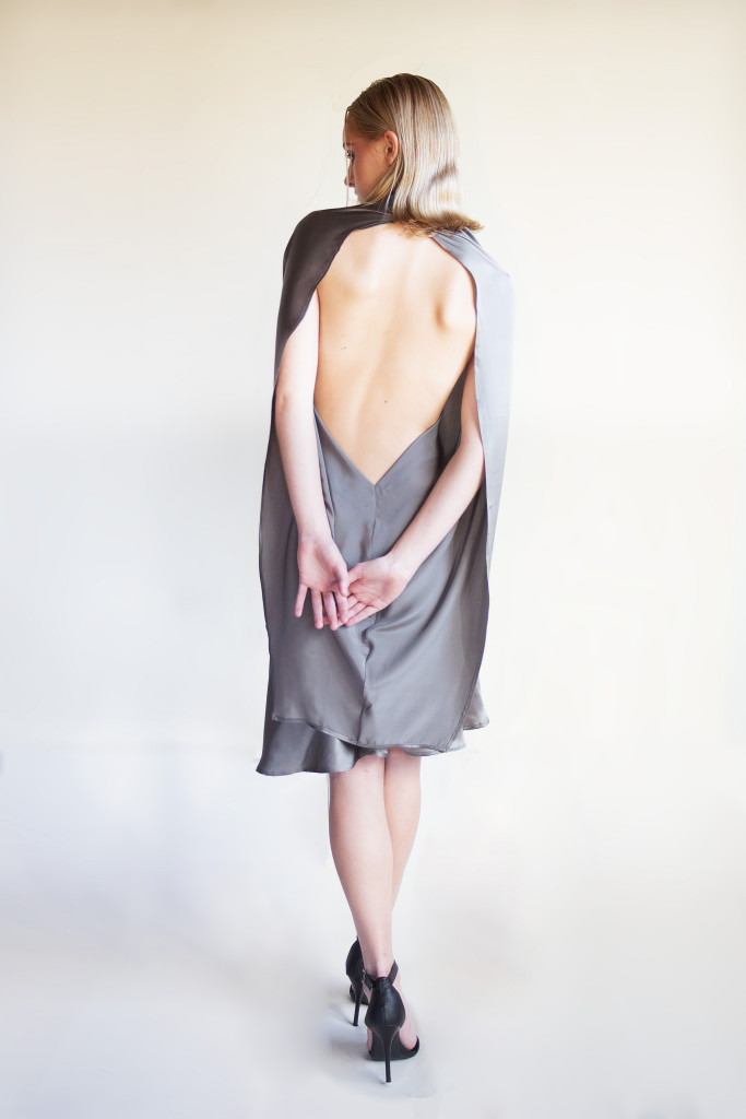 spring summer 2013 look 1 back silk cocktail dress open back
