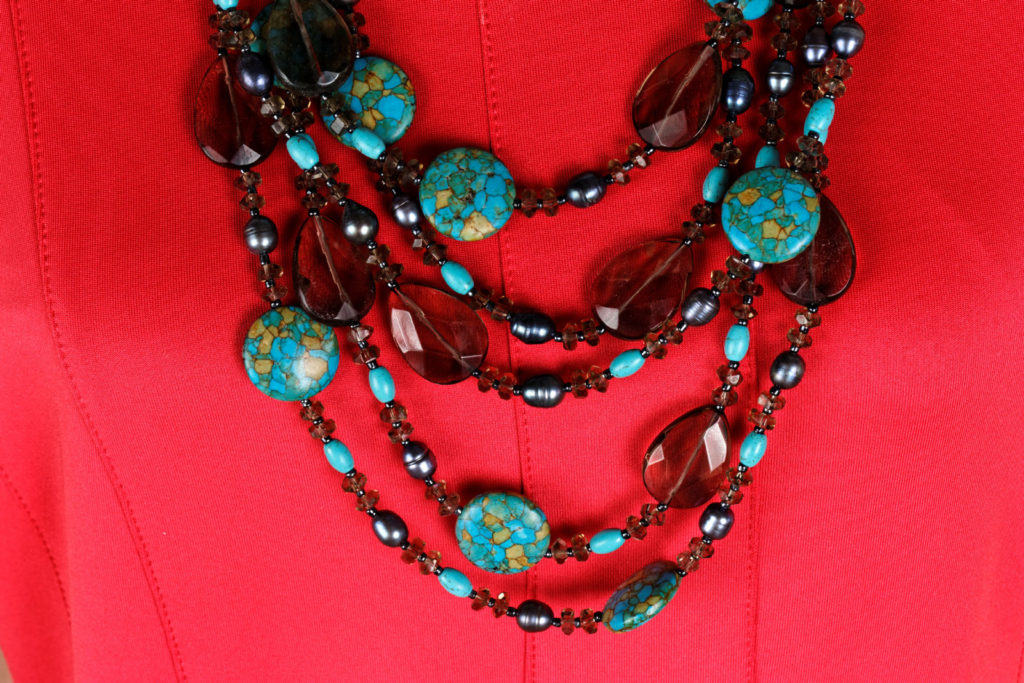 Closeup of turquoise necklace