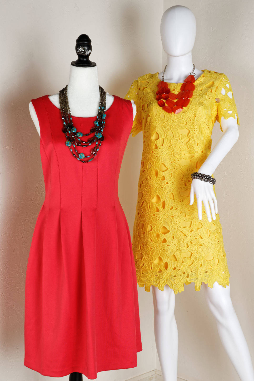 Pink Orange and yellow summer dresses with jewlery