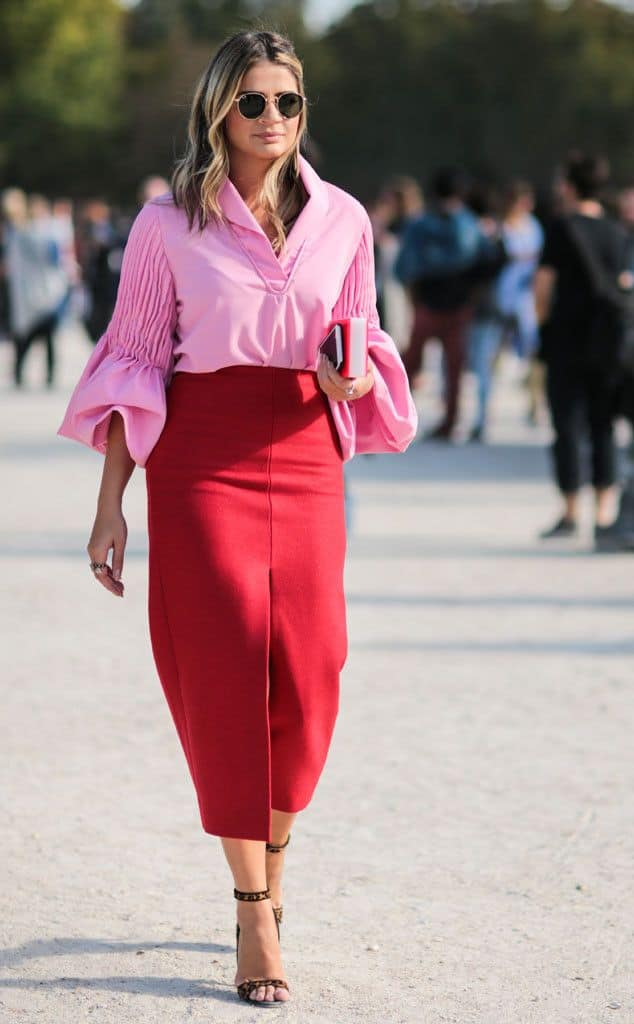 Pink Red Color Combination As An Outfit