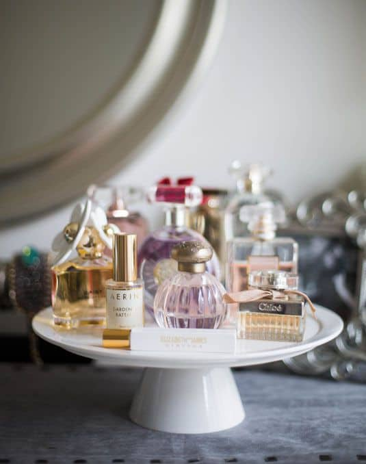 fragrances on cake stand