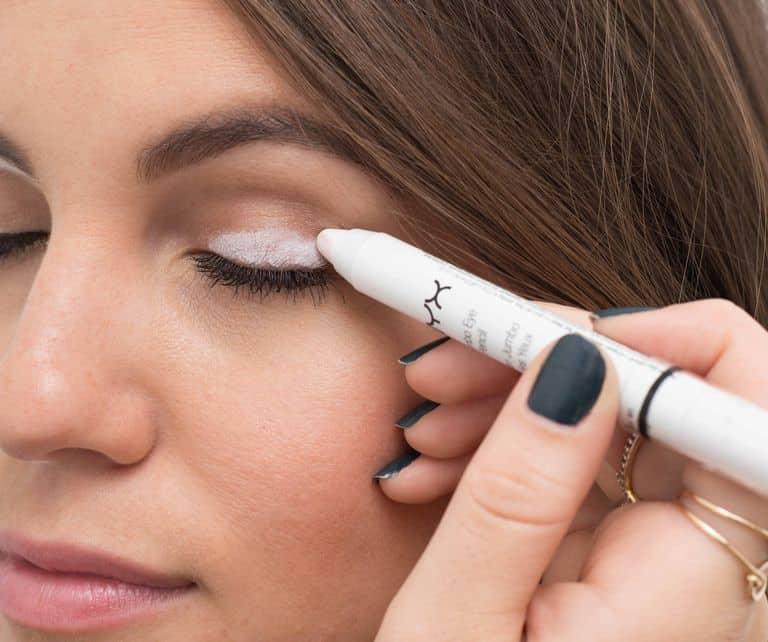 white eye pencil over eyes