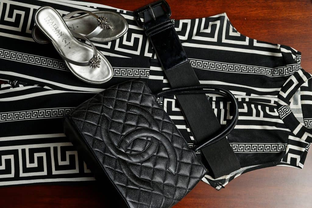 B&W Jumpsuit w Chanel Bag