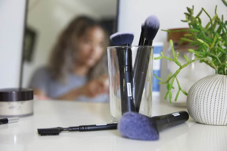 Vanity with Makeup Brushes